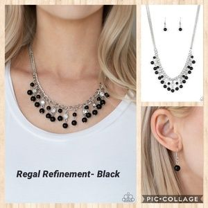 Regal refinement black necklace
